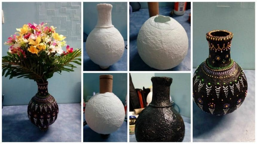 How to make a handmade flower vase- Simple Craft Ideas Homemade Flower Vase Images on homemade toys, homemade flower garden, homemade flower earrings, homemade flower bed, homemade flower soap, make your own vase, homemade flower boxes, homemade flower clocks, homemade flower bouquet, homemade box, homemade frame, homemade flower planter, homemade flower wreath, homemade animal, homemade flower pen, homemade wall decor, homemade flower chandelier, homemade flower necklace, wild flowers vase, homemade flower costume pattern,