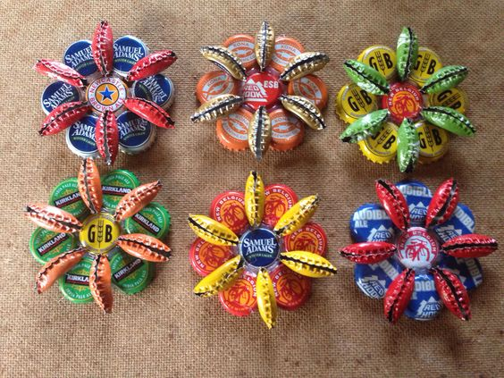 Flowers using metal bottle caps simple craft ideas