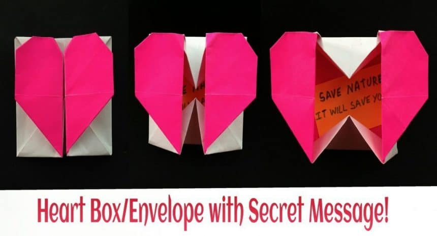 "How to make origami paper ""heart gift box with secret ..."