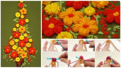 puff flower embroidery