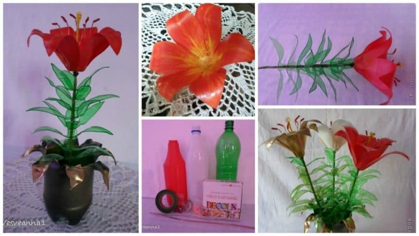 How to make lily from plastic bottles