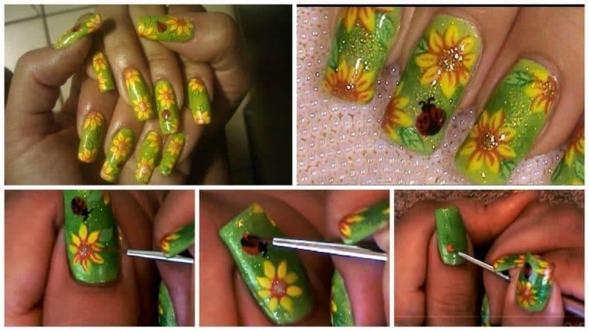 Sunflower ladybug summer design