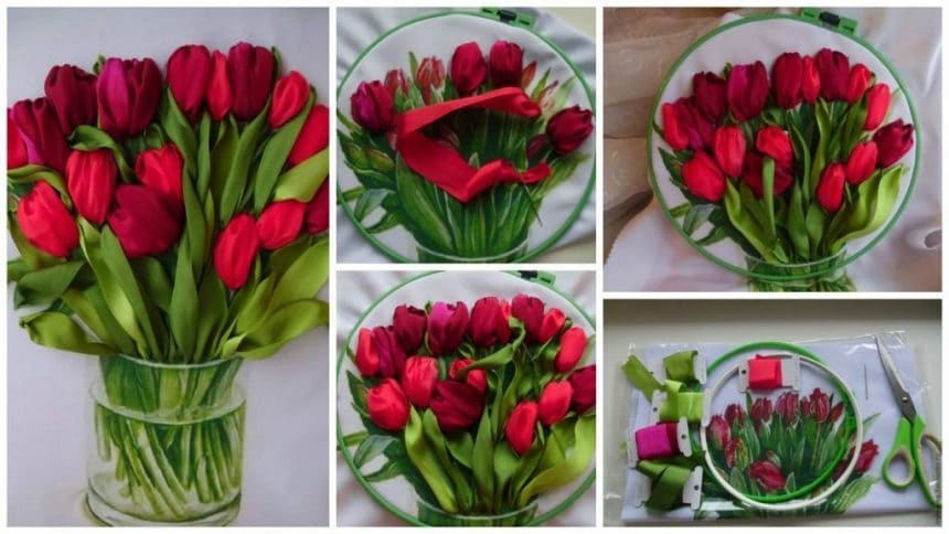 Bouquet of tulips embroidered ribbons