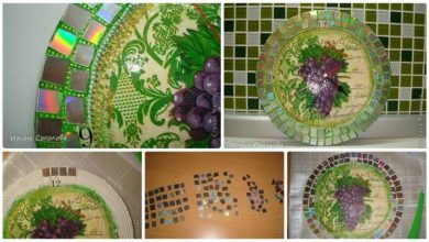 decoupage technique and covered with mosaics