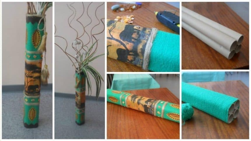 How to make vase from paper rolls