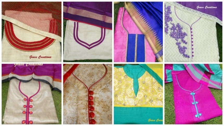 Neck pattern for kurtha