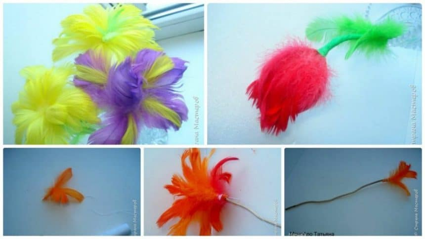 How to make flower from feathers