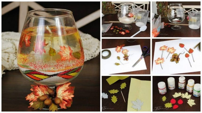 """How to creating gel candles """"Listopad"""", decorated in foamirana"""