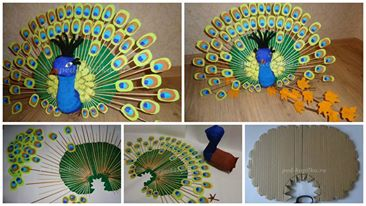 How To Make Peacock From Corrugated Paper Simple Craft Ideas
