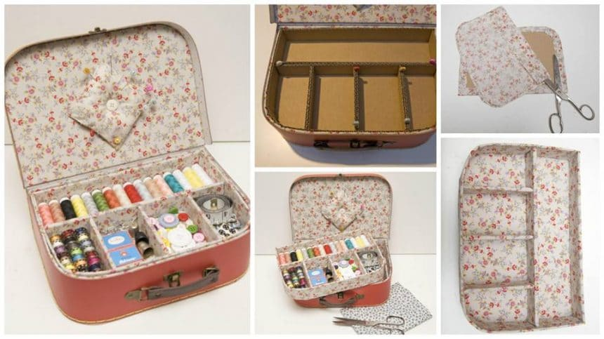 How to make a sewing kit with a cardboard box