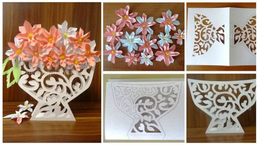 How to make spring flower openwork card