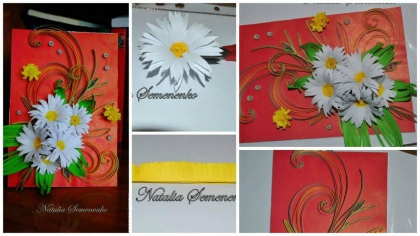 How to make spring postcard from quilling