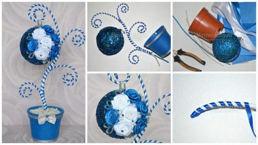 How to make christmas topiary from  blue and white ribbons