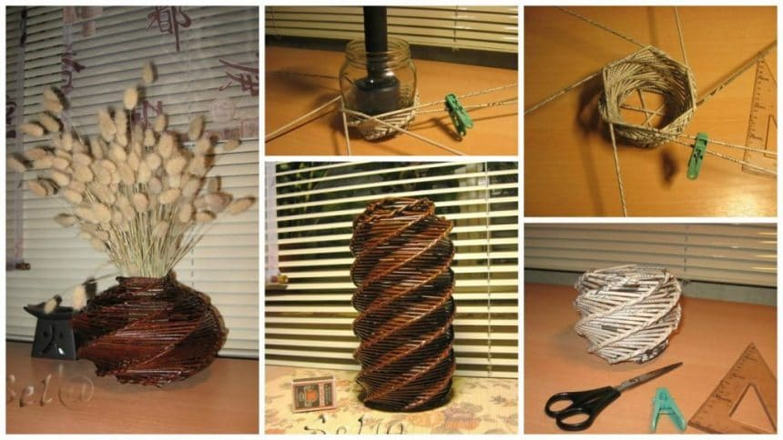 How to make spiral weaving vase from newspaper tubes