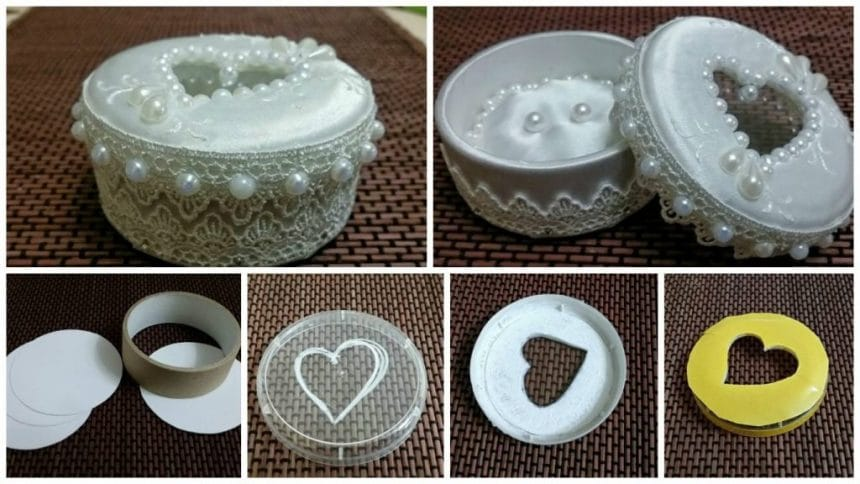 Create a box for rings of the bobbin by an adhesive tape