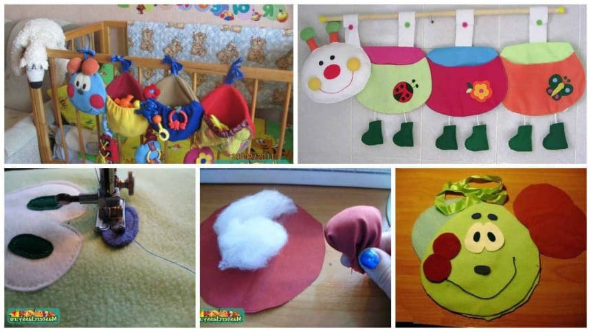 How to make caterpillar pocket for crib