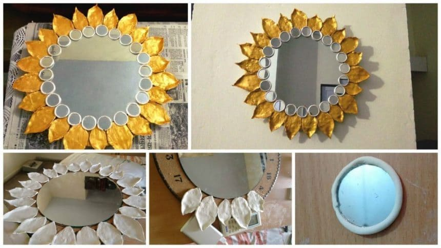 How to make beautiful mirror simple craft ideas for Small round craft mirrors