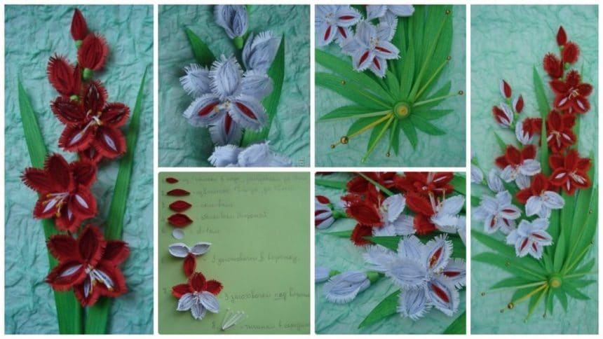 How to make quilling gladiolus flower