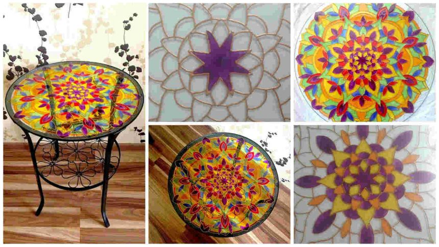 How to coffee table decoration using stained glass paint
