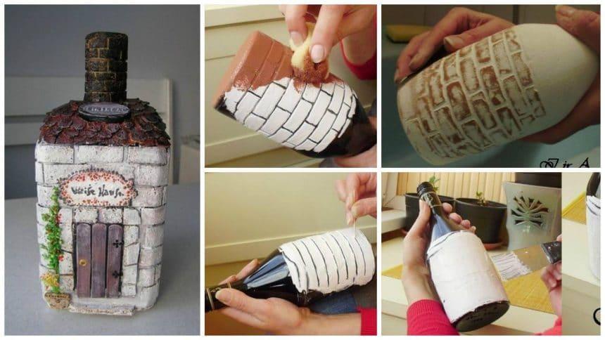 How to make imitation bricks on the bottle