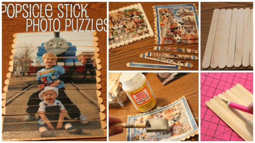 How to make popsicle stick photo puzzles for kids