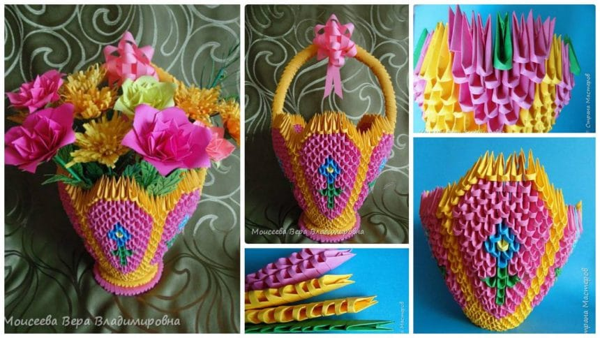Simple craft idea howto make flower basket from origami mightylinksfo