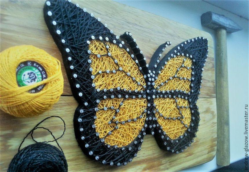 butterfly in string art style