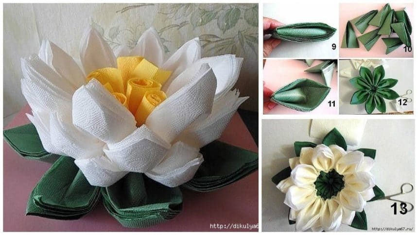 How to make lotus flower of napkins