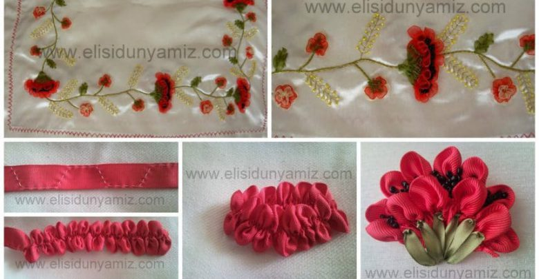 embroidered a poppy from ribbon
