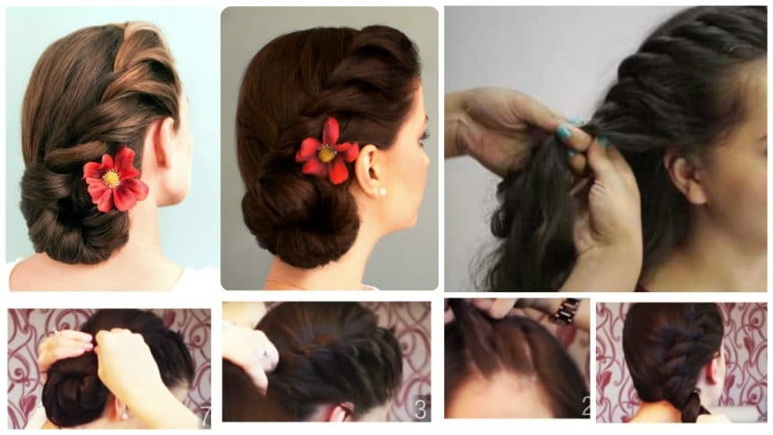 How to rope braided side bun hair style