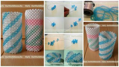 weaving a vase of glass beads