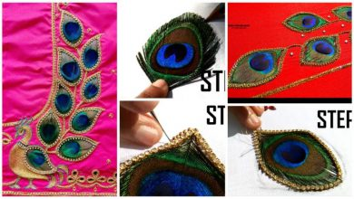 aari work with real peacock feathers