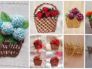 embroidery flower basket