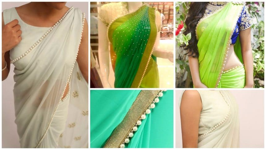 How to pearl work on saree