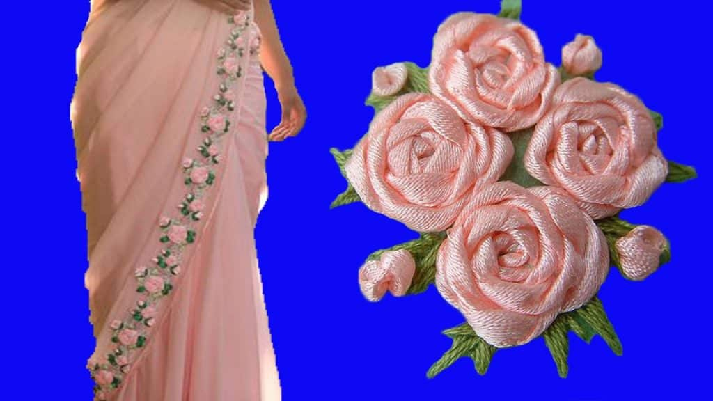 How To Make Ribbon Work Saree Simple Craft Ideas