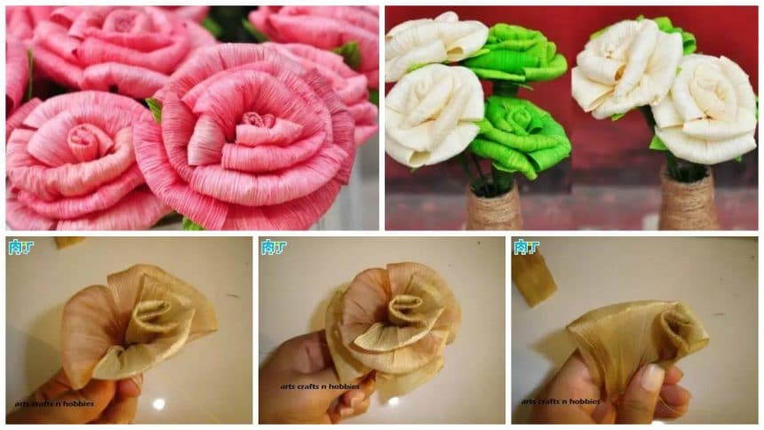 roses bouquet from corn skin