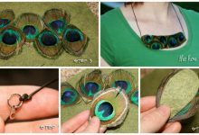 peacock feather bib necklace