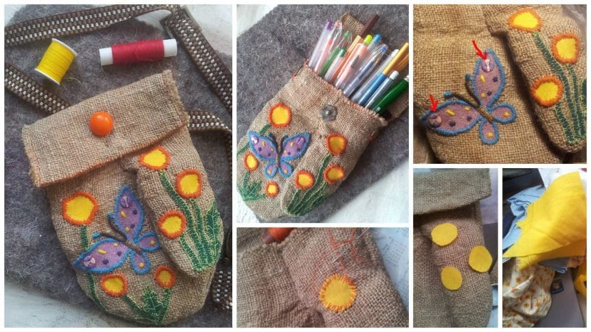 How to make embroidered burlap bag