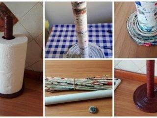 kitchen roll holder with paper straws