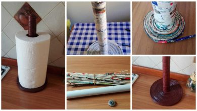 kitchen roll holder with paper straws