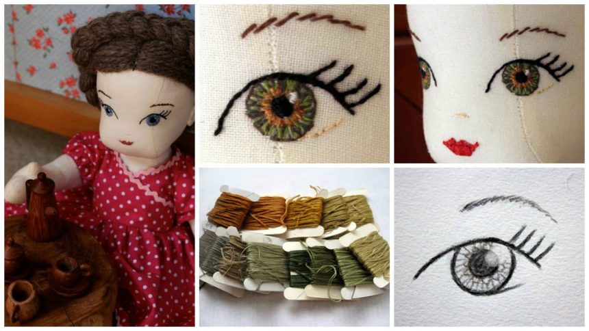 Embroidered eyes for the dolls
