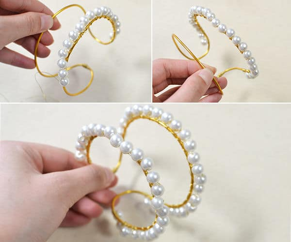 pearl bead bangle bracelet