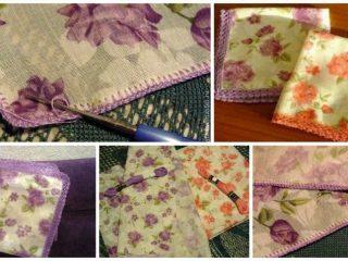 handkerchief, tied with crochet