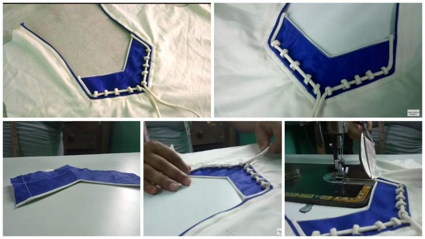 Heart piping neck design cutting and stitching