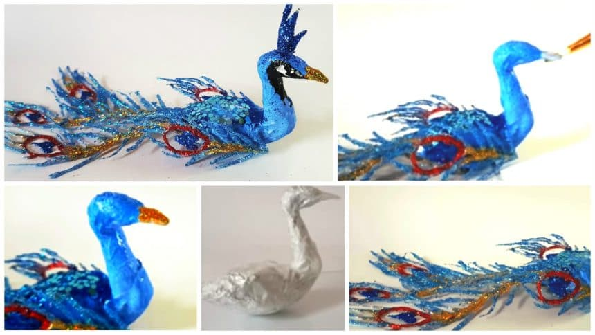How To Make A Peacock From Hot Glue Feathers Simple Craft Ideas