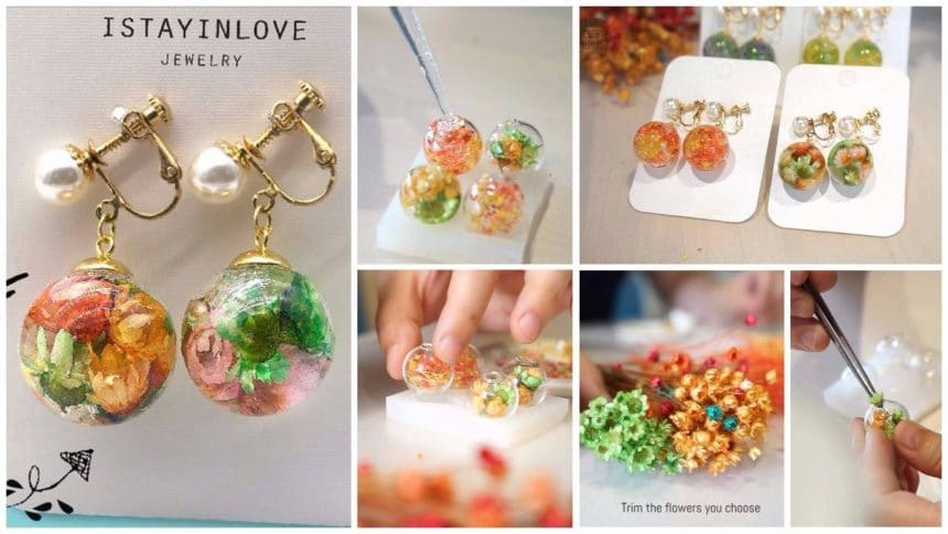 earrings of glass flower