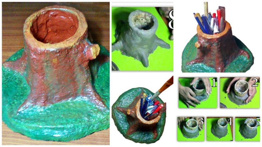 How to make paper mache pencil holder