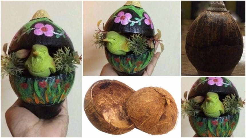 How to make coconut shell showpiece