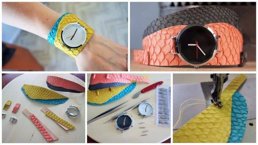 Create a watch on a wide belt of fish skin