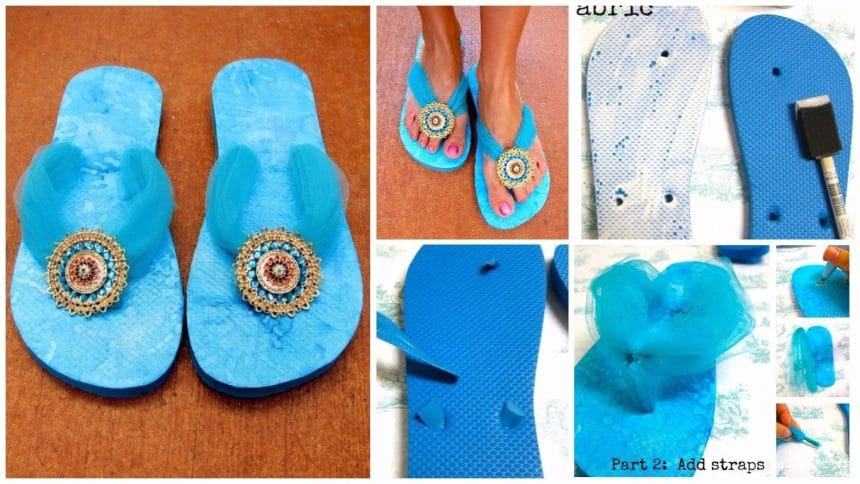 How to transform your flip flops with mod podge and jewelry